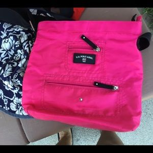 US POLO hot pink nylon lightweight tote